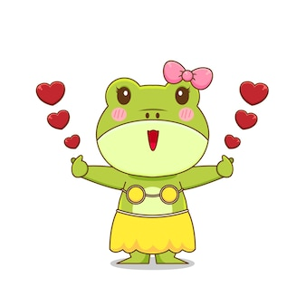 Girl frog character isolated