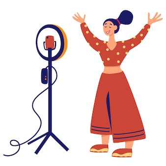 Girl in front circular light line vector illustration. recording new video blogger important process. internet blogger, profession or hobby. web blogging, mass media art. the light ring.