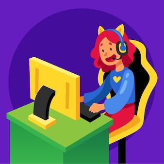 Girl gamer playing online games