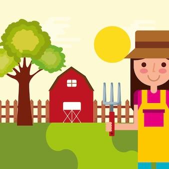 Girl gardener farm barn tree fence natural