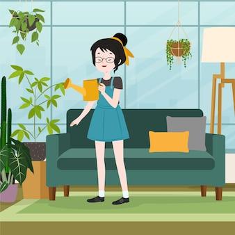 Ragazza che fa il giardinaggio a casa illustrata