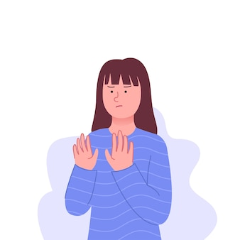 Девушка жестом отвергает и отказывается от иллюстрации