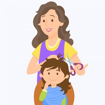 A girl getting a haircut