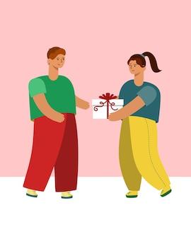 Девушка дарит парню подарок. векторная иллюстрация