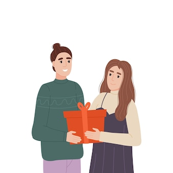 The girl gives a gift to the guy