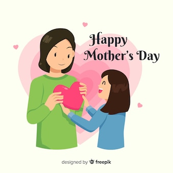 Girl giving present to her mother mother's day background