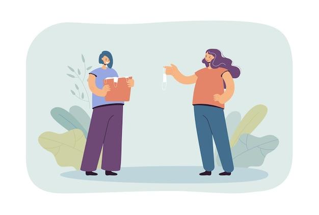 Девушка дает подержанную маску своей сестре плоской иллюстрации