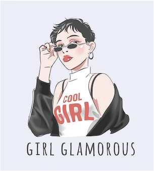 Girl glamorous slogan with short hair girl illustration