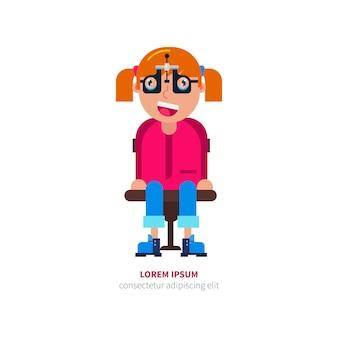 Girl in glasses checks eyesight  illustration.
