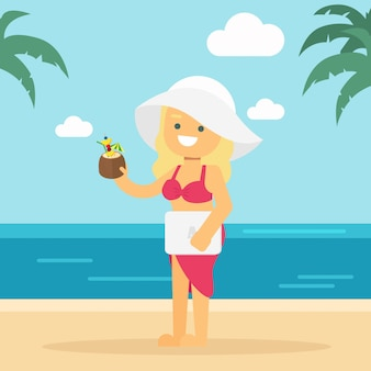 Girl go to travel girl working and holiday in a beach
