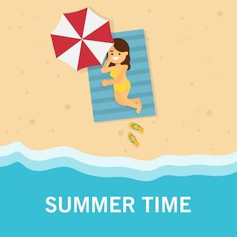 Girl go to travel in summer holiday, girl sunbathe on beach mat