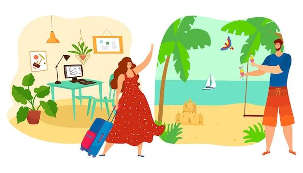Девушка идет с работы на отдых, концепция летних каникул Premium векторы