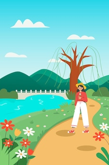 A girl going for an outing in spring Premium Vector