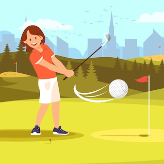 Girl golfer practicing golf driving range course.