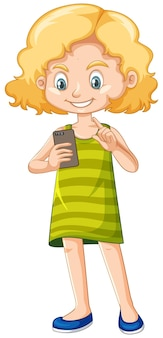 Girl in green shirt using smartphone cartoon character isolated on white background