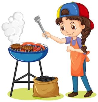 Ragazza e stufa a griglia con il cibo su sfondo bianco