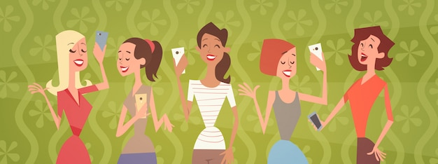Girl group taking selfie photo on cell smart phone young cartoon woman smiling