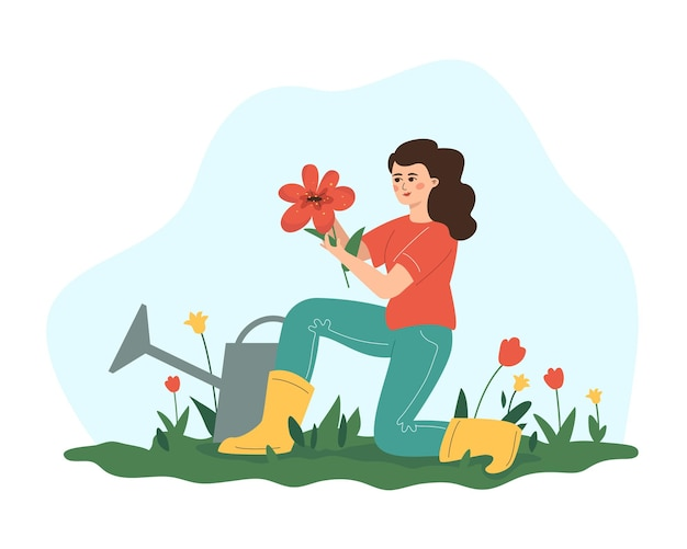 A girl growing flowers.