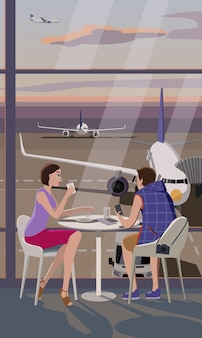 A girl and a guy in the airport cafe are waiting to board the plane.