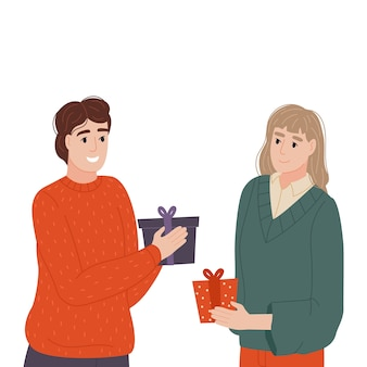 The girl and the guy have small gifts