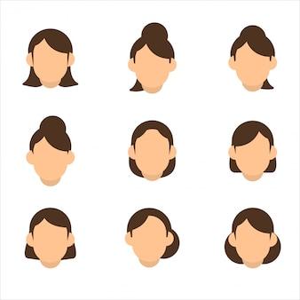 女の子のヘアスタイルの礼儀正しい外観セット