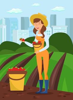 Girl harvesting berry flat vector illustration