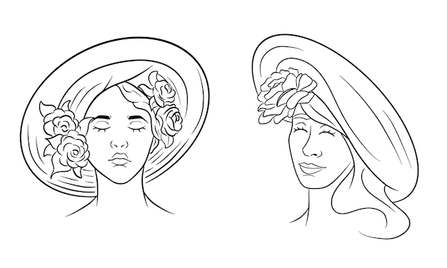 Girl in a hat abstraction. girl with roses on a headdress. line style. vector illustration for design and decoration.