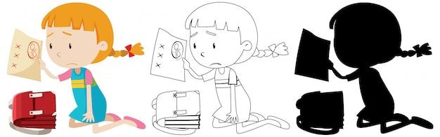 女の子はその輪郭とシルエットで悪い試験マークを持っています