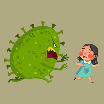 女の子はコロナウイルスのイラストと戦う