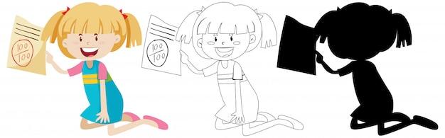 女の子はその輪郭とシルエットで素晴らしい試験マークを持っています