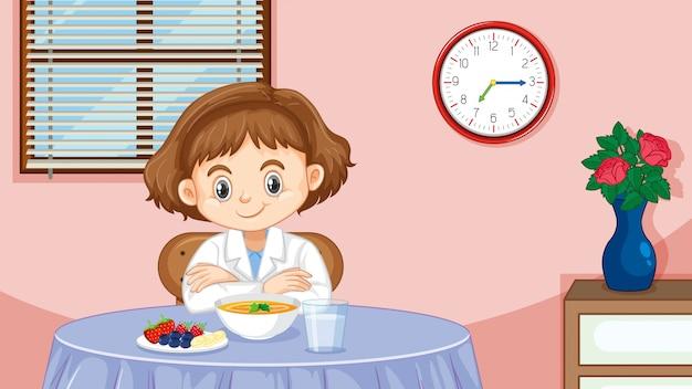 Girl having breakfast in the morning
