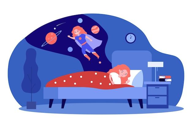 Девушка видит фантастические сны во сне по ночам. плоские векторные иллюстрации. маленькая девочка мечтает полететь в космос как супергерой в мантии. сон, мечта, детство, космос, концепция фэнтези