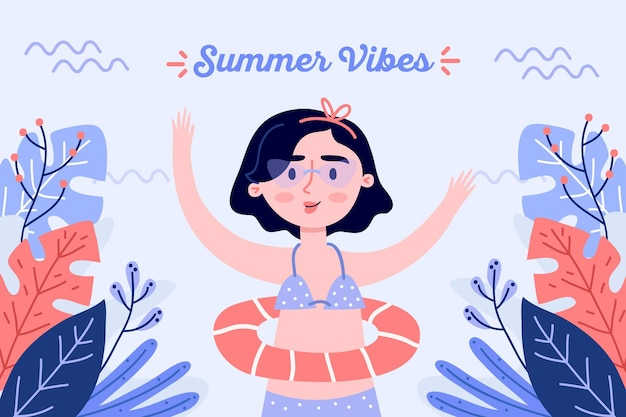 Girl having a floatie hand drawn background