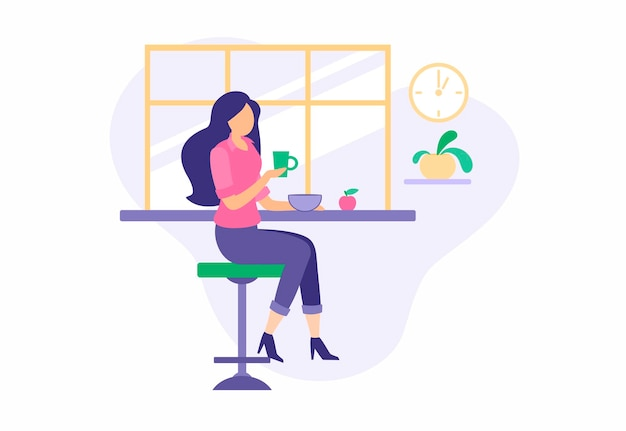 Girl having lunch during break in cozy dining room. beautiful girl in suit drinks coffee while sitting bar stool. hot nutrition soup bowl and fresh sweet apple. cartoon vector illustration