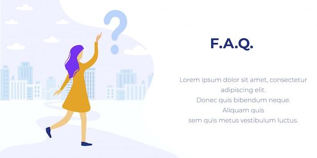 Faqセンターのメタファーバナーに質問を持つ少女