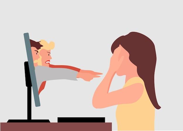 화난 댓글을 읽고 스트레스를 받는 소녀 화난 화난 소녀는 테이블 옆에 앉아 노트북을 본다