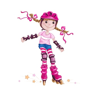 Girl in helmet and protective accessories rollerblading.