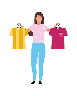 Girl helps with t shirts choosing semi flat color vector character