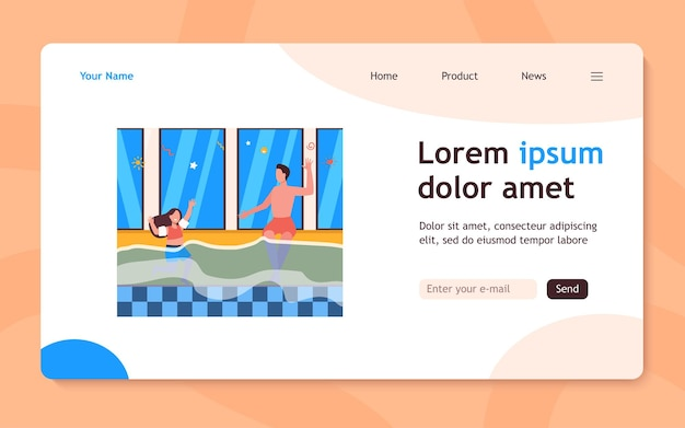 Girl and her dad bathing in swimming pool landing page