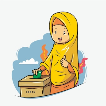 Girl in hijab is giving charity in the box