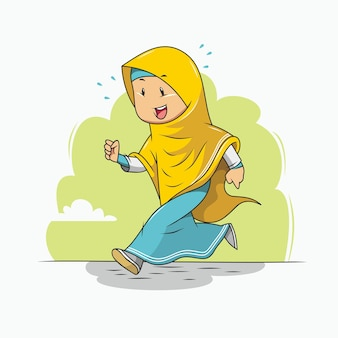 The girl in the hijab is jogging