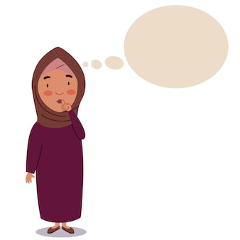 A girl in a hijab stands with a finger at her mouth the child is thinking about an idea