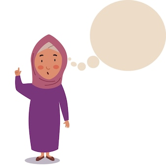 A girl in a hijab stands with her hand raised up the child is thinking about an idea