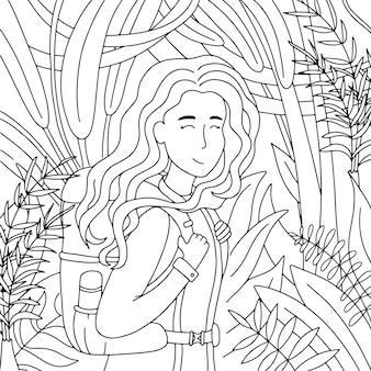 Раскраска девушка с рюкзаком в джунглях