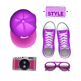 Girl hipster accessories set with gumshoes cap photo camera and sunglasses