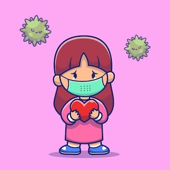 女の子ホールドハート着用マスクアイコンイラスト。コロナマスコットの漫画のキャラクター。分離された人々アイコンコンセプト