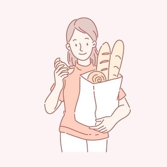 ラインアートでパン屋さんのパンの袋を保持している女の子