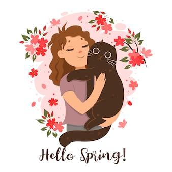 그녀의 팔에 고양이를 들고 소녀입니다. 안녕하세요 봄!