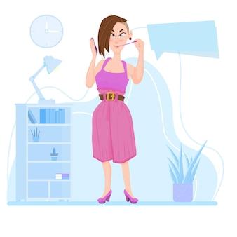 Девушка держит смартфон в руках, в помещении, мультипликационный персонаж - плоский стиль.