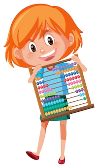 A girl holding abacus